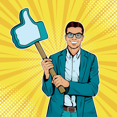 Businessman with a gesture on a wooden stick. Colorful vector illustration in pop art retro comic style.
