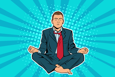 Young businessman sitting in a lotus position pop art comic book illustration. Calm man in business suit meditating. Entrepreneur engage in spiritual practices for mental balance, stress reliance
