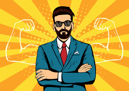 Hipster beard businessman with muscles. Strong Businessman in glasses in comic style. Success concept vector illustration. Ilustracja