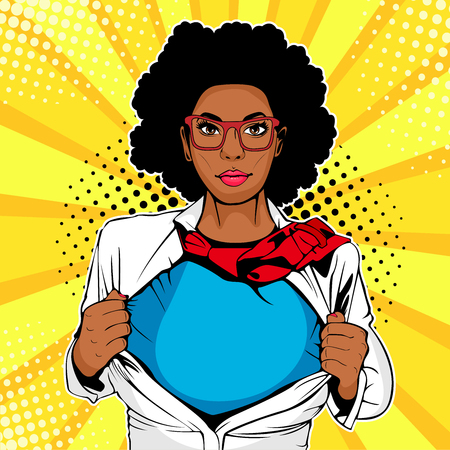 Pop art female afro american superhero. Young sexy woman dressed in white jacket shows superhero t-shirt. Vector illustration in retro pop art comic style. Illustration