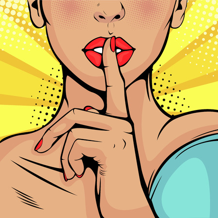 Top secret silence girl. Beautiful woman put her finger to her lips, calling for silence. Colorful vector background in pop art retro comic style.