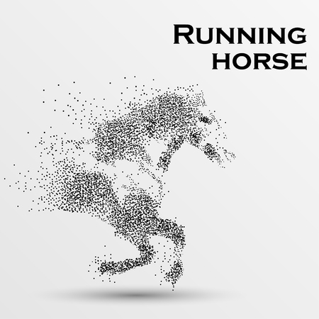 Galloping horse, particles, vector illustration. Ilustracja