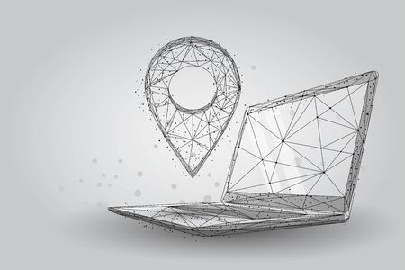 Low poly GPS pin on pc laptop screen. Abstract notebook wireframe traveling vector illustration. Maps and navigator services.