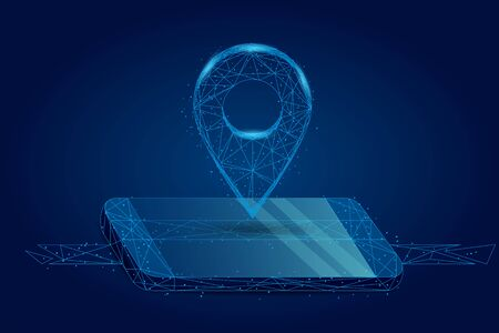 Abstract mash line and point GPS pin on mobile screen. Abstract Low-poly wireframe vector traveling illustration. Starry sky and cosmos style. Maps and navigator services.