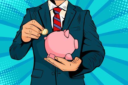 Zakenmanhand die muntstuk in een spaarvarkensgeld besparingen zetten. Vectorillustratie in pop-art retro komische stijl