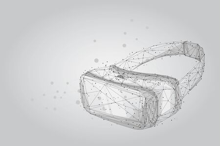 Abstract mash line and point VR headset holographic projection virtual reality glasses, helmet. low poly wireframe geometric vector illustration.