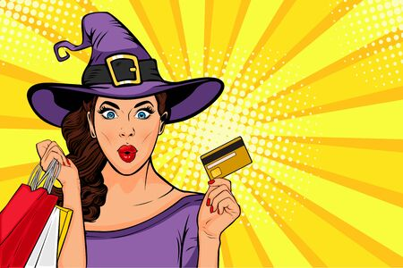 Halloween sale vector illustration. Sexy young girl in witch costume and shopping bags in pop art retro comic style