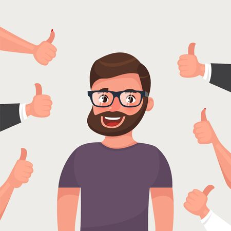 Cheerful hipster bearded young man surrounded by hands demonstrating thumbs up gesture. Public appreciation, positive opinion, respect, recognition, honor. Flat cartoon vector illustration 스톡 콘텐츠 - 134613622