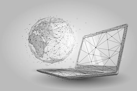 Low poly wireframe Global World. Planet Earth on laptop screen. Vector 3d low poly wireframe on the starry sky, consisting of points, lines, and shapes in the form of stars. 일러스트