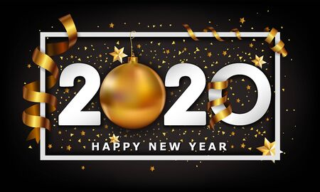 New Year Typographical Cretaive Background 2020 With Christmas golden ball bauble and stripes elements