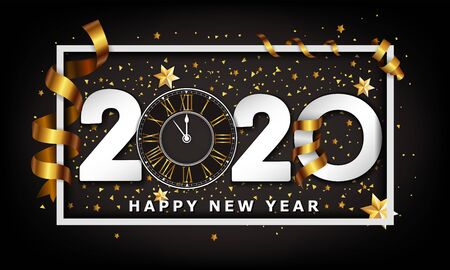New Year Typographical Creative Background 2020 With Clock 스톡 콘텐츠 - 134613626
