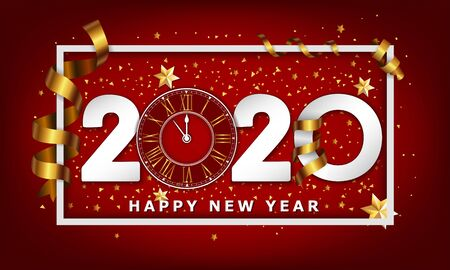 New Year Typographical Creative Background 2020 With Clock 스톡 콘텐츠 - 134613627