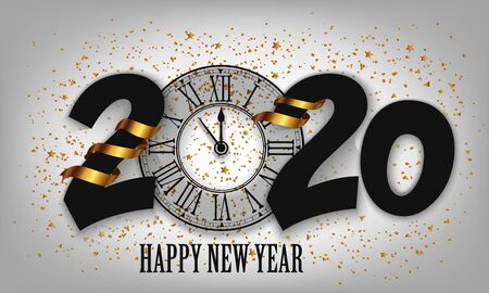 New Year Typographical Creative Background 2020 With Clock
