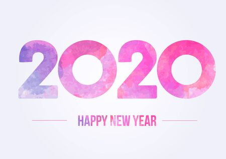 Happy new year 2020. Year 2019 vector design element. Watercolor illustration. Merry Chrstmas Background for dinner invitations, festive posters, promotional depliant, greetings cards.