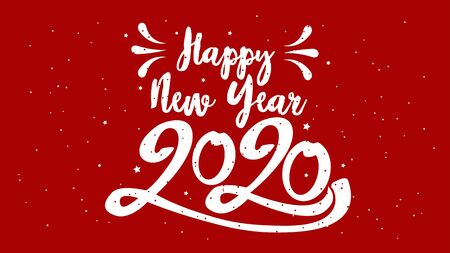 Happy Typographical 2020 New Year. Vector retro Illustration With Lettering Composition And Burst. Holiday vintage festive label Ilustracja