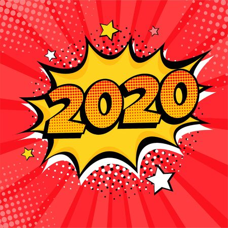 2020 New Year comic book style postcard or greeting card element. Vector illustration in pop art retro comic style. Stock Illustratie