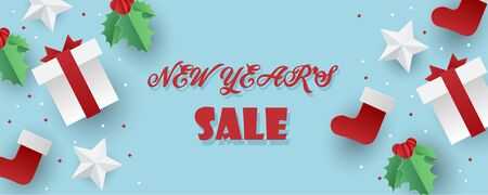 Sale banner background for New Year shopping sale. Happy New year sale lettering with paper christmas elements. Design with for web online store or shop promo offer