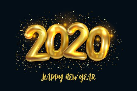 Happy New 2020 Year. Holiday vector illustration of metallic golden balloons numbers 2020. Festive poster or banner design