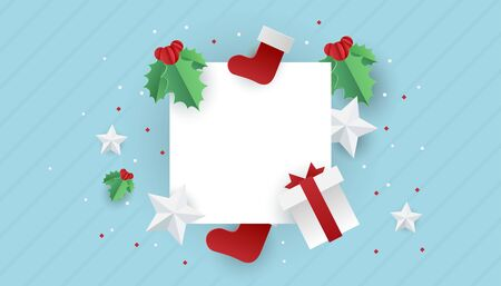 Sale banner background for New Year shopping sale. Happy New white blank paper with christmas elements. Design with for web online store or shop promo offer