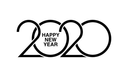 Happy New Year 2020 text design. Brochure design template, card, banner. Vector illustration of Cover of business diary for 2020 Çizim
