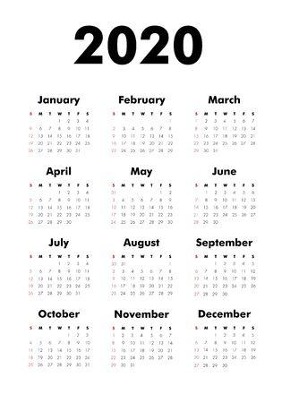 Year 2020 calendar template, simple vector design Çizim