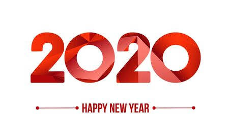 Happy new year 2020. Year 2019 vector design element. Low poly illustration. Merry Chrstmas Background for dinner invitations, festive posters, promotional depliant, greetings cards