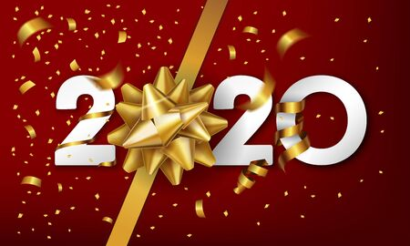 2020 Happy New Year vector background with golden gift bow and confetti. Christmas celebrate design