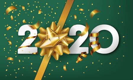 2020 Happy New Year vector background with golden gift bow and confetti. Christmas celebrate design 스톡 콘텐츠 - 134613591