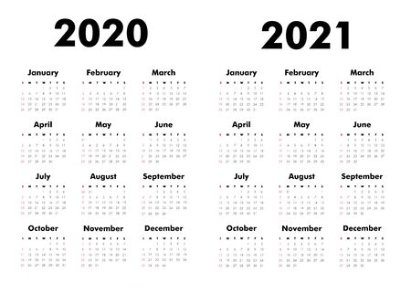Vector Calendar on 2020, 2021 years. Week starts Sunday. Stationery calender template in minimal design. Yearly organizer. Business illustration.