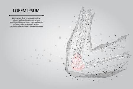 Ligne de purée abstraite et articulation du bras humain poin. Illustration vectorielle de low poly design coude cure douleur traitement
