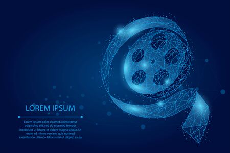 Abstract mash line and point movie film reel. Low poly vector illustration 일러스트