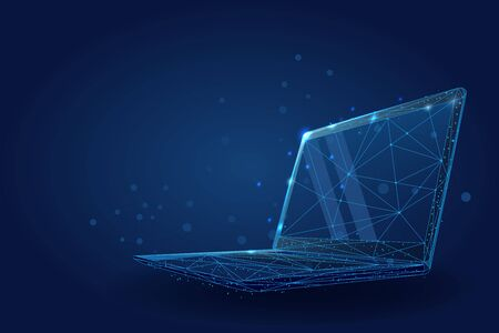 Low poly wireframe Laptop. Plexus lines and points vector illustration Vettoriali