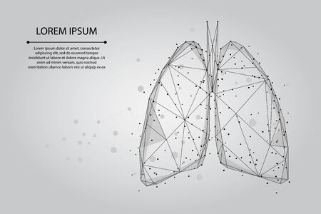 Abstract mash line and point human lungs connected dots low poly wireframe. Online doctor World Tuberculosis day medicine vector illustration 스톡 콘텐츠 - 137140485