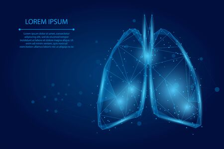 Abstract mash line and point human lungs connected dots low poly wireframe. Online doctor World Tuberculosis day medicine vector illustration