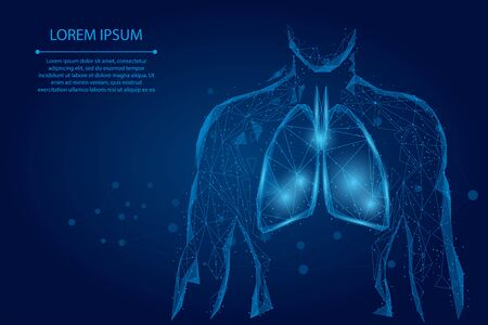 Man silhouette healthy lungs connected dots low poly wireframe. Online doctor World Tuberculosis day medicine low poly vector illustration 일러스트