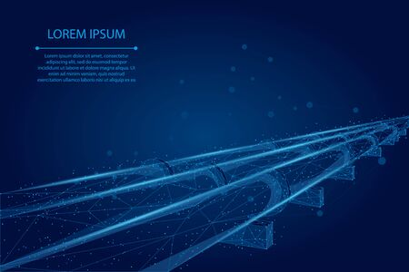 Abstract mash line and point Oil pipeline. Petroleum fuel industry transportation line connection dots blue vector illustration 스톡 콘텐츠 - 137140493
