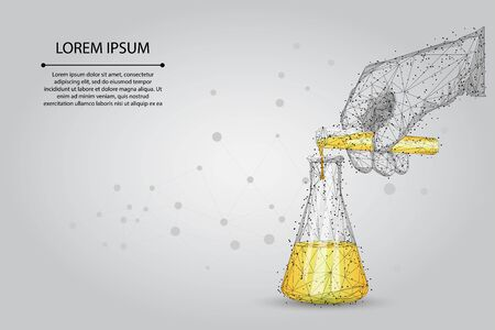 Abstract mash line and point medical laboratory analysis. Medicine low poly wireframe banner template. Polygonal scientist hand pours liquid from test tube into flask. Lab testing vector illustration. 일러스트