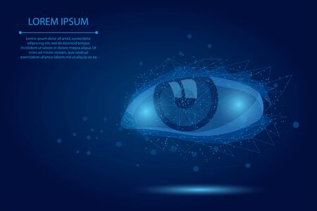 Abstract mash line and point laser vision correction. Low poly human iris modern operation surgery technology. Polygonal eye shape biometric identity vector illustration