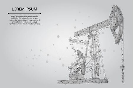 Abstract mash line and point oil well rig. Low poly petroleum fuel industry pumpjack derricks pumping drilling point vector illustration 스톡 콘텐츠 - 135882830