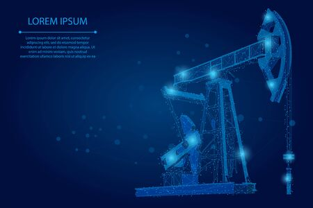 Abstract mash line and point oil well rig. Low poly petroleum fuel industry pumpjack derricks pumping drilling point vector illustration
