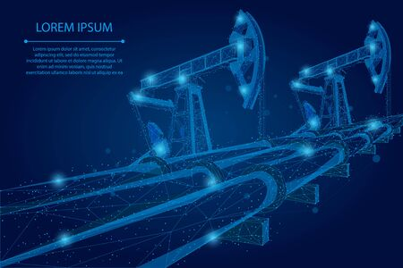 Abstract mash line and point Oil pipeline low poly business concept. Polygonal petrol production. Petroleum fuel industry transportation vector illustration Illustration