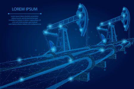 Ligne de purée abstraite et point Concept d'entreprise low poly d'oléoduc. Production d'essence polygonale. Illustration vectorielle de pétrole carburant industrie transport
