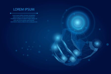 Abstract mash line and point Hand touch the circle interface technology. Polygonal Businessman pushing a button on a digital touch screen. Low poly vector illustration
