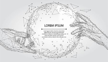 Abstract mash line and point, polygonal hands touching digital global form. Low poly vector illustration Illustration