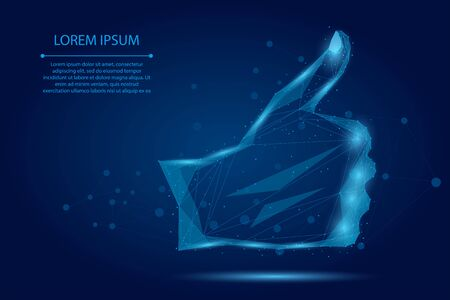 Abstract mash line and point like gesture. Low poly hand Thumb up. Polygonal vector illustration