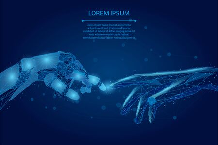 Abstract mash line and point Low poly wireframe human and robot hands touching with fingers. Polygonal artificial intelligence 3D vector Illustration Future technological business.