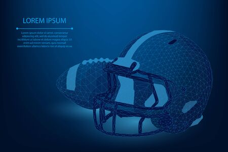 Abstract line and point rugby ball and helmet. Low poly American football vector illustration. Polygonal cyber technology sport