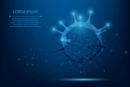 Abstract line and point Virus cell. Low poly Immunology, new strain epidemic, infection pathogen concept vector illustration. Abstract polygonal image.