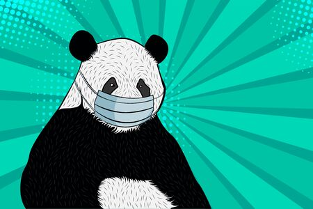 Panda in a medical mask. Pop art retro comic style vector illustration. Coronavirus treatment concept.