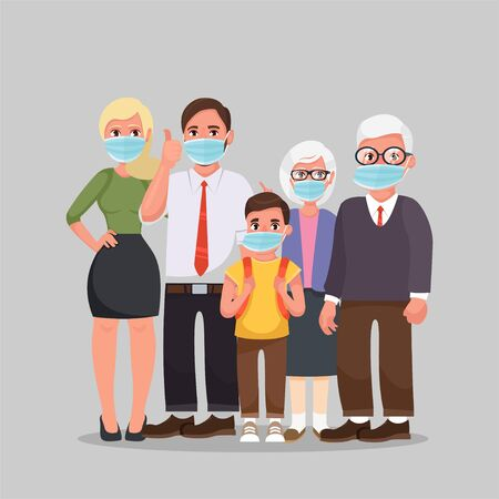 Family wearing protective Medical mask for prevent virus Wuhan Covid-19. Grandfather, grandmother, father, mother, daughter and son wearing a surgical mask.